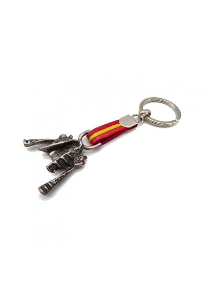 Steel bullfighter jacket keychain with Spanish flag