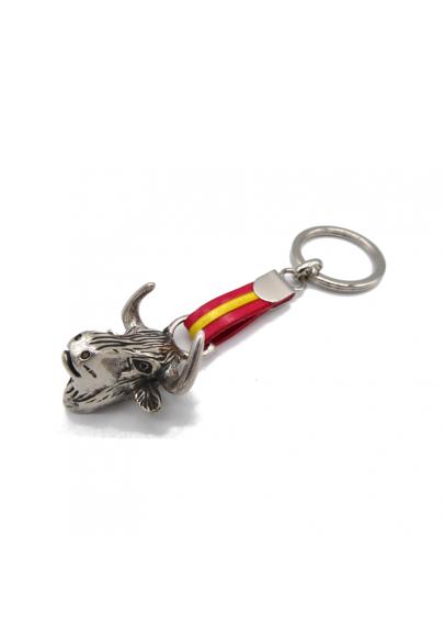 Steel bull keychain with Spanish flag