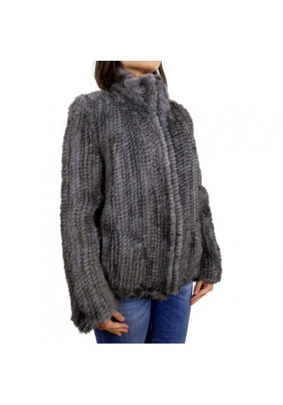 Knitted mink jacket with zipper