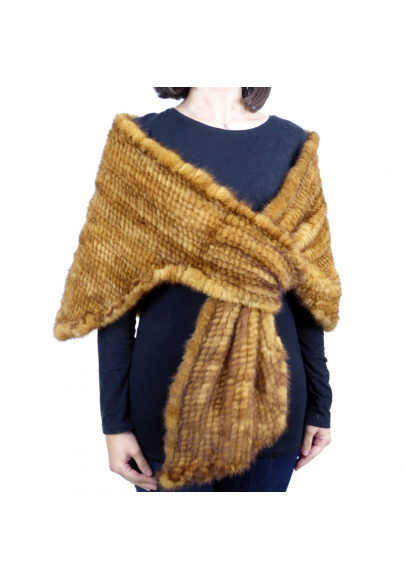 Knitted mink cross shawl