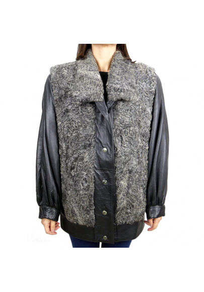 Vintage grey astakan jacket with leather