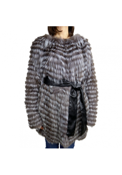 Silver fox strip coat