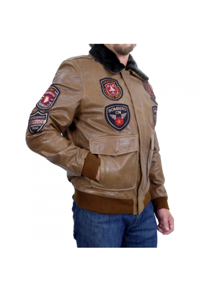 MEN´S LEATHER BOMBER JACKET WITH PATCHES