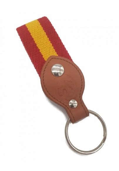 CANVAS/LEATHER KEYCHAIN SPANISH FLAG