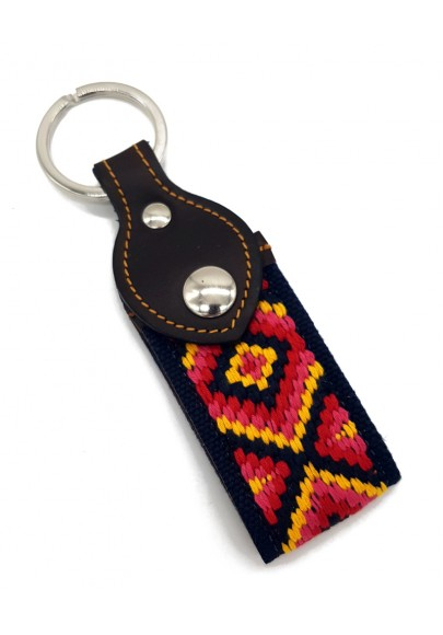 ETHNIC CANVAS/LEATHER KEYCHAIN