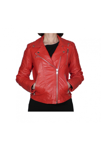 Biker leather jacket for woman