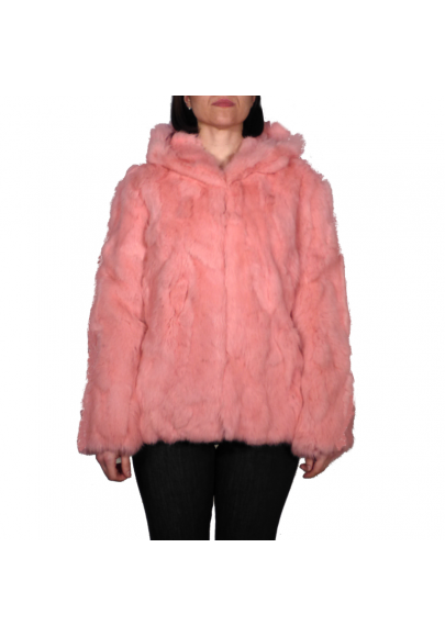 Rabbit fur jacket with hood