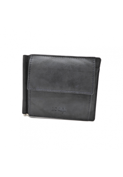 Leather wallet with clip for men