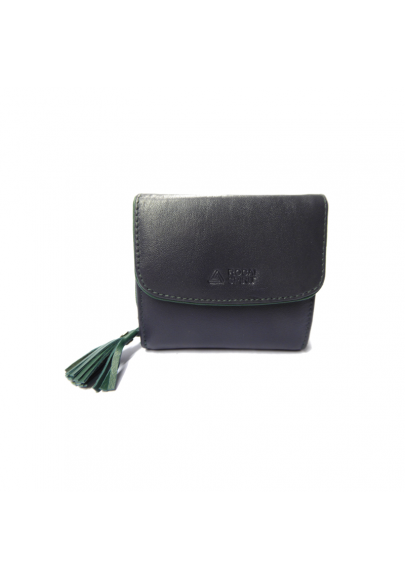 Women small leather wallet with tassel